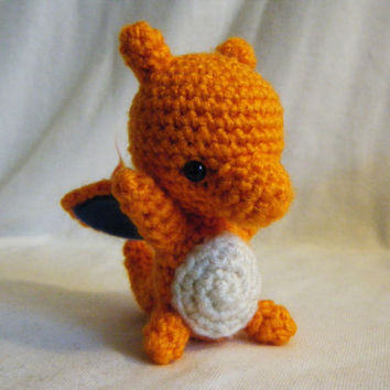 Pokemon Inspired Charizard Crocheted Doll Made to Order