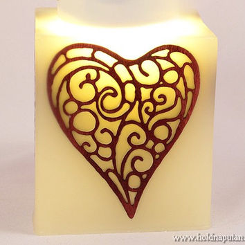 Anniversary gift for grandparents love you heart elegant candle with handmade mahogany wooden inlay