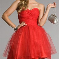 Knee Length Sweetheart Neckline Gathered Bodice Red Prom Dress PD1846