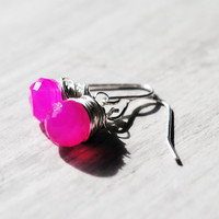 Neon Pink Earrings Sterling Silver Gemstones Wire by starletta