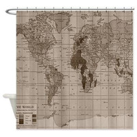 Beautiful Brown Vintage World Map Shower curtain- minimalist travel decor - home - Bathroom - maps, antique brown, beige