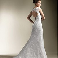 Buy Brilliant Lace&amp; Satin Sheath Sweetheart Neckline Wedding Dress