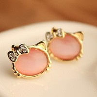 Super Cute Opal Cat Stud Earrings--pink