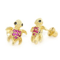 14k Gold Plated Children Ruby Turtle Children Screwback Earrings With 925 Silver Post Baby, Toddler, Kids & Children