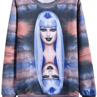 Sheinside Purple Long Sleeve Woman Clouds Print Sweatshirt