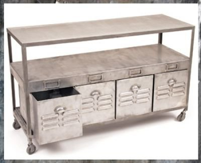 Industrial console work table steel from clayton gray home for Rolling craft table with storage