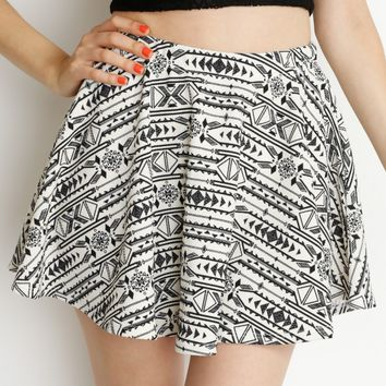 Cream Aztec Print Skater Skirt