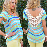 Moonbeam Mint Striped Crochet Back Top