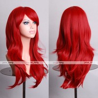 "Cosplay Inshop 28 "" Long Big Wavy Hair Heat Resistant Cosplay Wig Free Shipping (Wine Red)"