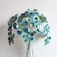 Paper Flower Bouquet 20 Stem Aqua Teal 12 by FlightyFleurs