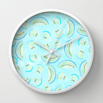 Summertime Aqua Blue Wall Clock by Lisa Argyropoulos | Society6