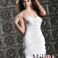 pictures of Mini short v-neck beaded white Prom Dresses 2012 PDM309