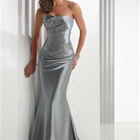 Mermaid strapless lace-up sweep train satin black silver Prom Dresses 2012 PDM299 - cheap price 2012 online shop for sale.
