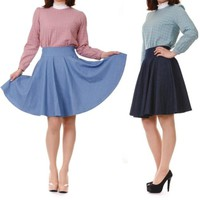Feminine Retro Pinup Denim High Waist A-line Swing Full Flared Midi Skirt