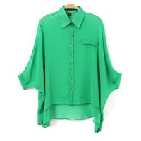 Solid color lapel bat sleeve personality sleeves chiffon shirt