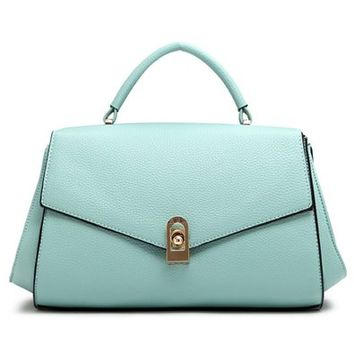 Bright Color Top Handle Tote Shoulder Flap Bag Handbag