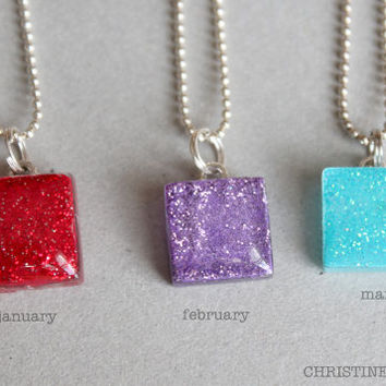 Birthstone Sparkle Small and Sweet Glass Necklaces
