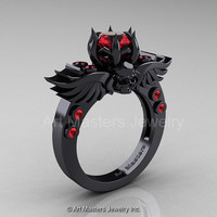 Art Masters Classic Winged Skull 14K Black Gold 1.0 Ct Rubies Solitaire Engagement Ring R613-14KBGR