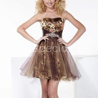 Fashion A-line Scoop Neckline Beadings Mini Tulle Graduation Dress-SinoSpecial.com