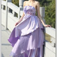 A-Line Strapless Floor Length Silk Satin Evening Dress(EDA30096) [EDA30096] - &amp;#36;135.90 :