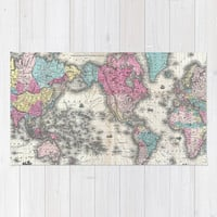 Vintage Map of The World (1852) Area & Throw Rug by BravuraMedia | Society6