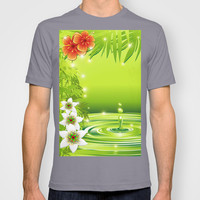Green Water Bamboo and Tropical Flowers T-shirt by Bluedarkat Lem