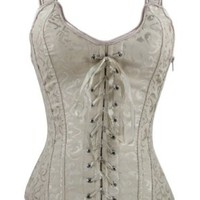 Bamu Fashion Women Brocade Corset Beige/white Corset Top Lace up Out Wear Corset