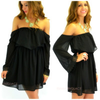 Hillcrest Black Off-Shoulder Dress
