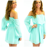 Hillcrest Mint Off-Shoulder Dress