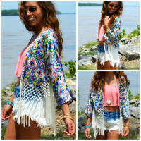 Madame Butterfly Royal Blue Fringed Kimono