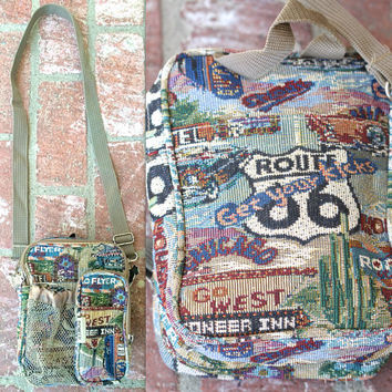 Vintage 90s Southwestern // Route 66 Print Tapestry Crossbody Bag // Multiple Pockets // Medium Purse Size