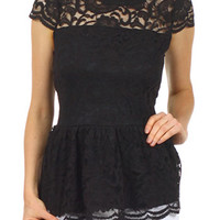 Dark Demure Lace Peplum Top