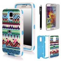 E LV Deluxe Printed Hard Soft High Impact Hybrid Armor Defender Case Combo for Samsung Galaxy S5 i9600 with 1 Screen Protector, 1 Stylus and 1 Microfiber Sticker Digital Cleaner (Tribal Light Blue)