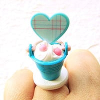Kawaii Food Ring Ice Cream Sundae Heart by SouZouCreations on Etsy