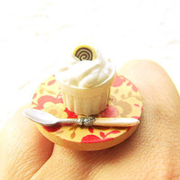 Food Ring Chocolate Pudding Flower Miniature by SouZouCreations