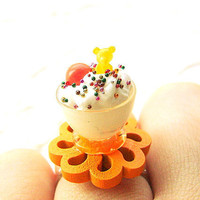 Kawaii Food Ring Ice Cream Orange Candy by SouZouCreations on Etsy