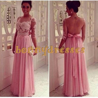 Pink Illusion Scoop Neckline Long Sleeves Chiffon Prom Evening Dresses With Lace Appliques And Beading,Gorgeous Backless Celebrity Gowns