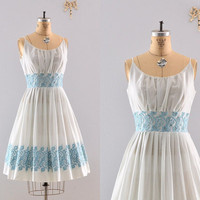 1950s dress / 50s powder blue dress / 1950s by PickledVintage