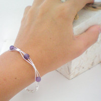 purple wire wrapped bangle bracelet by KimberlyAnnMarie on Etsy