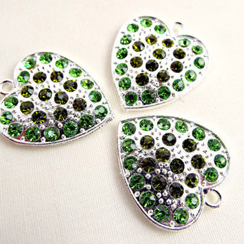 Green Heart Pendants, 3 Silver Hearts, Heart Charms, Hand Embellished, Rhinestone Pendants, Green Rhinestone Hearts