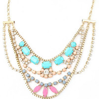 Candy Crusader Statement Necklace - Gold + Multi | Daily Chic
