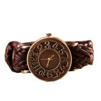 Zeagoo Women's Puck Vintage Hollow Digital Woven Leather Bracelet Quartz Watch