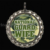 National Guard WIFE Bottle Cap Pendant with chain ML020011 | HeartsAFireStudio - Jewelry on ArtFire