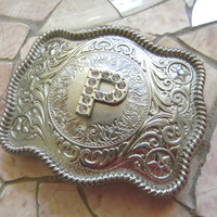 Monogram Letter P Personalized Silver Belt Buckle, Rhinestone Initial P Womens Mens Kids Western Belt Buckle, Custom  Buckle Groomsmen Gift