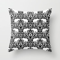 Elephant Damask Black and White Throw Pillow by Jacqueline Maldonado