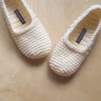 Buttercream Crochet Slippers for Women by WhiteNoiseMaker on Etsy