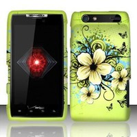 Motorola Droid Razr xt912 Accessory - Green Hibiscus Hawaii Flower Design Protective Hard Case Cover for Verizon