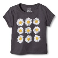 Girls' Short-Sleeve Sunflowers Repeat Tee - Charcoal