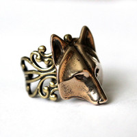 Golden Wolf Mask Ring Adjustable Filigree In Bronze by mrd74