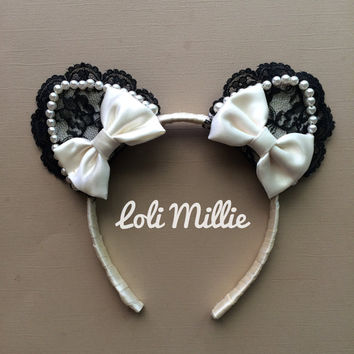 Keira Nekomimi Headband - Kawaii Cat Ears with Bows Sweet Lolita Hime Gyaru Dolly Cult Party Kei Ivory